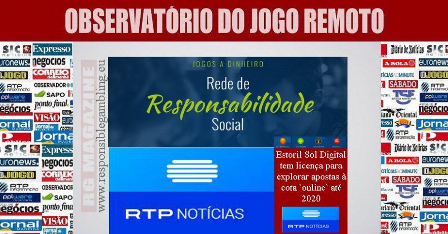 Estoril Sol Digital tem licença para explorar apostas à cota `online` até 2020
