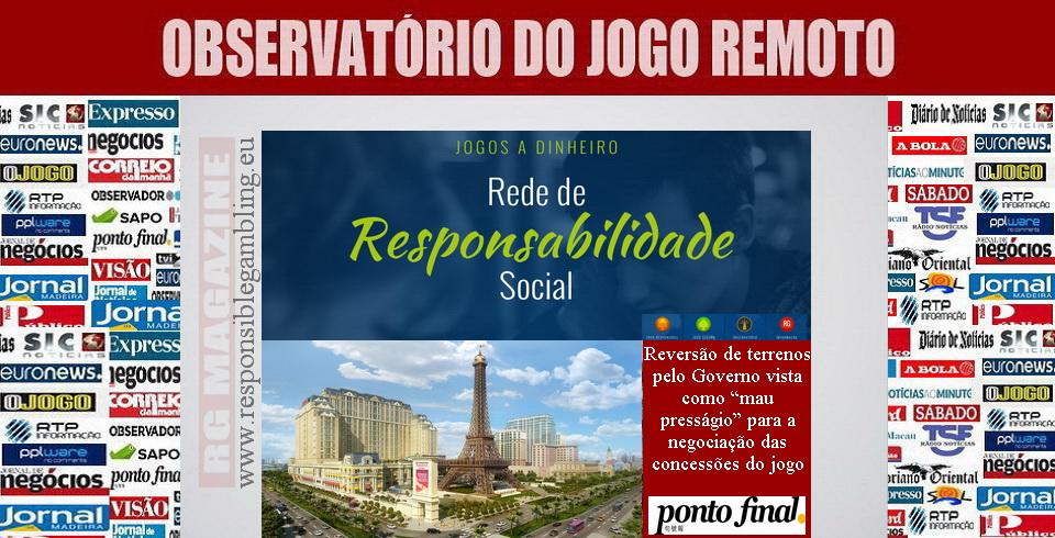 """Reversão de terrenos pelo Governo vista como """"mau presságio"""" para a negociação das concessões do jogo"""