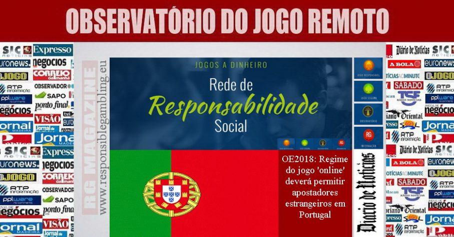 OE2018 - Regime do jogo 'online' deverá permitir apostadores estrangeiros em Portugal